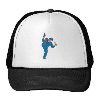 Policeman Gun Flashlight Torch Kicking Drawing Trucker Hat