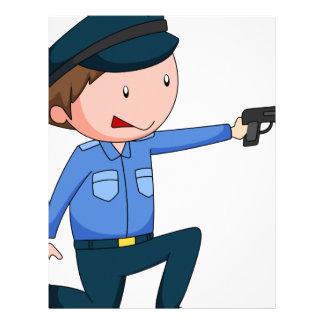 Policeman in uniform shooting a gun letterhead template