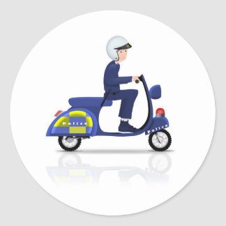 Policeman on Scooter Classic Round Sticker