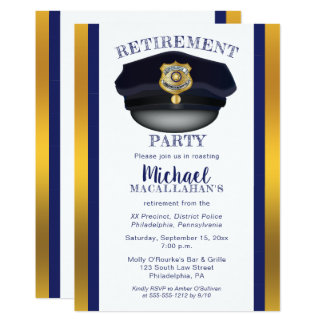 Policeman | Police | Cop Hat Retirement Party Card