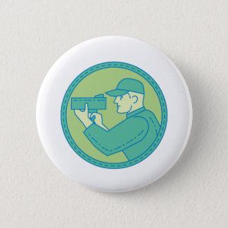 Policeman Speed Radar Gun Circle Mono Line 2 Inch Round Button