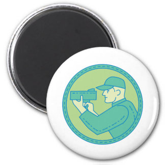 Policeman Speed Radar Gun Circle Mono Line 2 Inch Round Magnet