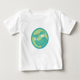 Policeman Speed Radar Gun Circle Mono Line Baby T-Shirt