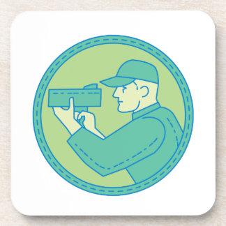 Policeman Speed Radar Gun Circle Mono Line Beverage Coaster