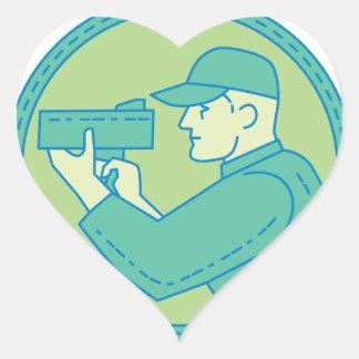 Policeman Speed Radar Gun Circle Mono Line Heart Sticker