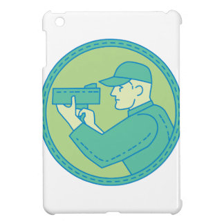 Policeman Speed Radar Gun Circle Mono Line iPad Mini Covers