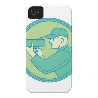 Policeman Speed Radar Gun Circle Mono Line iPhone 4 Case-Mate Case