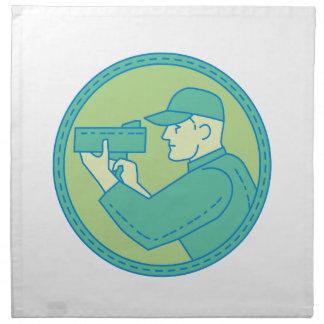 Policeman Speed Radar Gun Circle Mono Line Napkin