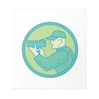 Policeman Speed Radar Gun Circle Mono Line Notepad