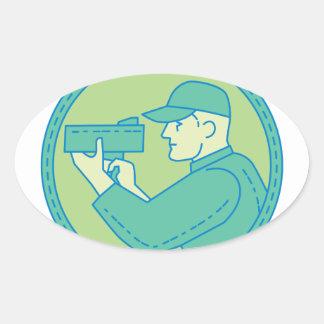 Policeman Speed Radar Gun Circle Mono Line Oval Sticker
