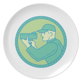 Policeman Speed Radar Gun Circle Mono Line Plate