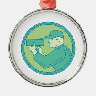 Policeman Speed Radar Gun Circle Mono Line Silver-Colored Round Ornament