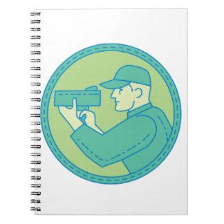 Policeman Speed Radar Gun Circle Mono Line Spiral Notebooks