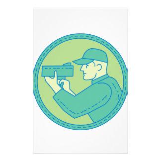 Policeman Speed Radar Gun Circle Mono Line Stationery
