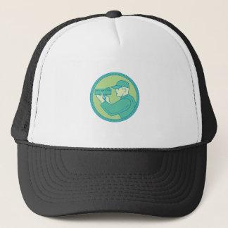 Policeman Speed Radar Gun Circle Mono Line Trucker Hat