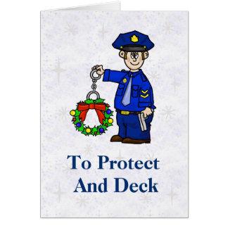 Policeman With Handcuffed Wreath Christmas Card