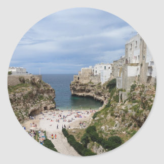 Polignano a Mare city beach round sticker