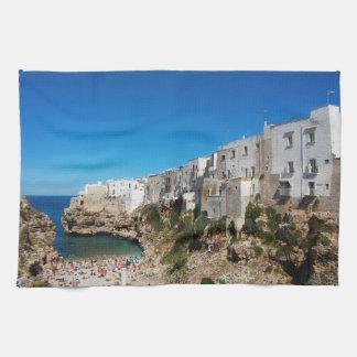 Polignano Mare Bari Italy beach landmark architect Kitchen Towel