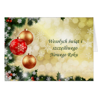 Polish Chrismas, New Year - baubles, snowflakes Card