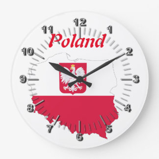 Polish country flag large clock