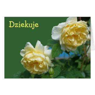 Polish Dziekuje Thank You Card Yellow Roses