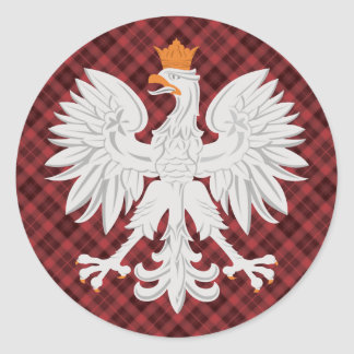 Polish Eagle Red Plaid Classic Round Sticker