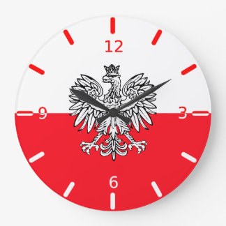 Polish flag large clock