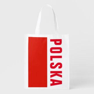Polish flag of Poland grocery shopping bag