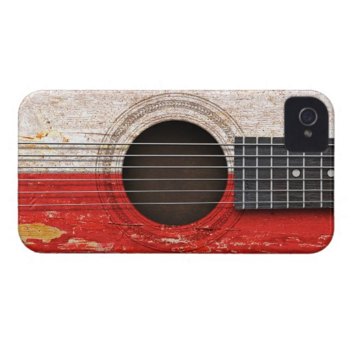 Polish Flag on Old Acoustic Guitar Case-Mate iPhone 4 Case