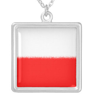 Polish Flag Silver Plated Necklace