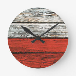 Polish Flag with Rough Wood Grain Effect Round Clock