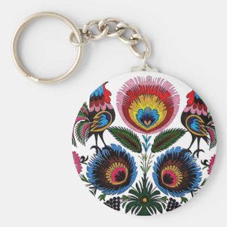 Polish Folk Basic Round Button Keychain