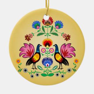 Polish Folk With Decorative Floral & Cockerels Round Ceramic Ornament