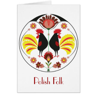 Polish Folk With Decorative Rooster, Greeting Card