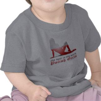 Polish Girl Silhouette Flag Tee Shirts