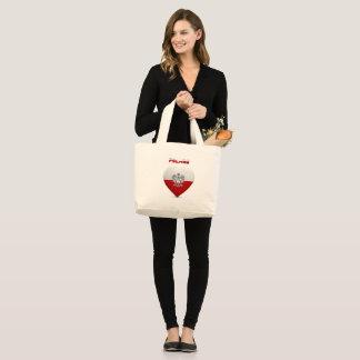 Polish heart flag large tote bag