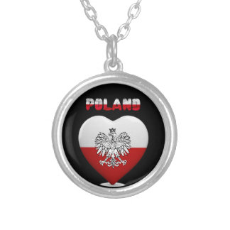 Polish heart flag silver plated necklace