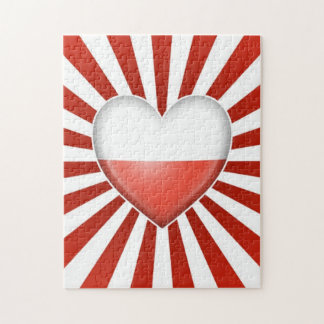 Polish Heart Flag with Star Burst Jigsaw Puzzle