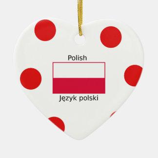 Polish Language And Poland Flag Design Ceramic Ornament