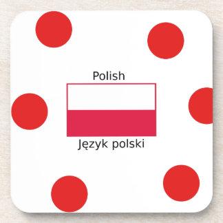 Polish Language And Poland Flag Design Coaster