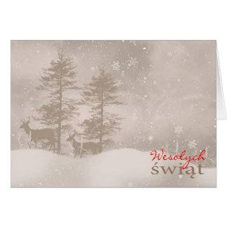Polish Language Happy Holidays Stylish Christmas Card