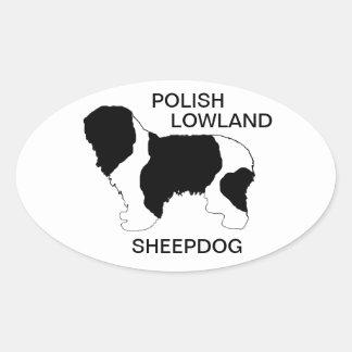 polish lowland sheepdog color silhouette oval sticker