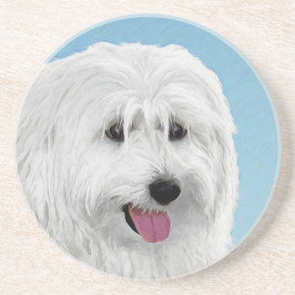 Polish Lowland Sheepdog Painting - Original Dog Ar Coaster