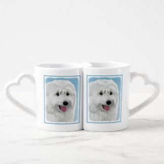 Polish Lowland Sheepdog Painting - Original Dog Ar Coffee Mug Set