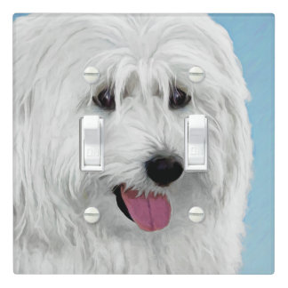 Polish Lowland Sheepdog Painting - Original Dog Ar Light Switch Cover