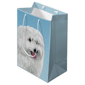 Polish Lowland Sheepdog Painting - Original Dog Ar Medium Gift Bag