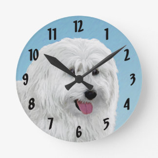 Polish Lowland Sheepdog Painting - Original Dog Ar Round Clock
