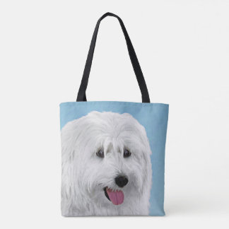 Polish Lowland Sheepdog Painting - Original Dog Ar Tote Bag