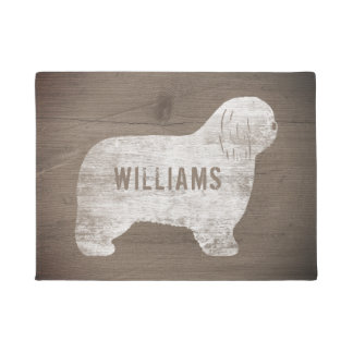 Polish Lowland Sheepdog Silhouette Custom Doormat