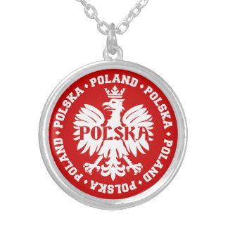 Polish Polska Eagle Emblem Silver Plated Necklace